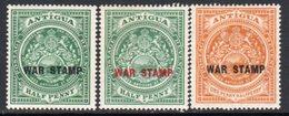 Antigua 1916-17 WAR STAMP Overprints Set Of 3, Hinged Mint, SG 52/4 - Antigua & Barbuda (...-1981)