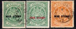 Antigua 1916-17 WAR STAMP Overprints Set Of 3, Used, SG 52/4 - Antigua & Barbuda (...-1981)