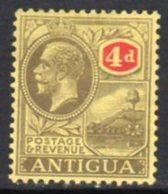 Antigua GV 1921-9 4d Grey-black & Red, Wmk, Mult. Crown CA, Hinged Mint, SG 56 - Antigua & Barbuda (...-1981)