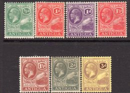 Antigua GV 1921-9 Group Of 7 Definitives To 3d, Wmk, Mult. Script CA, Hinged Mint, SG 62/74 - Antigua & Barbuda (...-1981)
