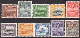 Antigua QEII 1953-62 Definitives Part Set Of 10 To 24c, Hinged Mint, SG 120a/9 - Antigua & Barbuda (...-1981)