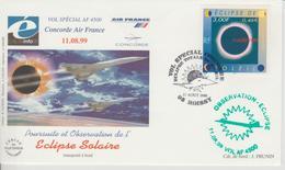 Oblitération Roissy 1999 Vol Spécial Concorde Eclipse Solaire - Gedenkstempel