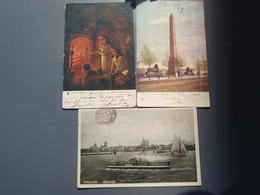 3 Cpa LONDRES, LONDON, Cléopatra's Needle, By The Fireside, Stralsund überfahrt - London