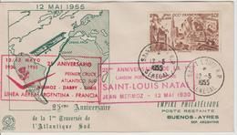 Lettre 1955 Commémoration Du 25ème Anniversaire De La Traversée De L'Atantique Par Mermoz - A.O.F. (1934-1959)