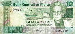 MALTA 10 LIRI GREEN WOMAN FRONT SHIP BACK DATED LAW OF 1967 (ISSUED 1986) P39a VF READ DESCRIPTION !! - Malta