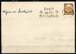 """German Empires,DR 1934Stempelkarte/Card Mit Mi.Nr.513 Und Propaganda MWST""""Döbeln-DENK AN DIE ARBEITSSCHLACHT""""1 Beleg - Alemania"""