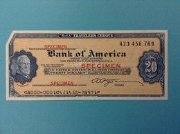 BANK OF AMERICA 20 DOLLARS TRAVELERS CHEQUE SPECIMEN  B OF A TWENTY DOLLARS - Stati Uniti