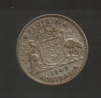 AUSTRALIA - GEORGE VI - FLORIN ( 1947 ) AG SILVER - Moneta Pre-decimale (1910-1965)