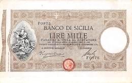 Italie . N° 49454 . Billet De Banque Lire Mille Sicilia - Italia