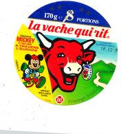 S  457  -ETIQUETTE DE FROMAGE- LA VACHE QUI RIT 8  PORTIONS     MICKEY  A TRAVERS L'EUROPE - Fromage