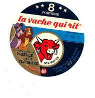 S  461 -ETIQUETTE DE FROMAGE- LA VACHE QUI RIT 8  PORTIONS     LA BELLE ET LE CLOCHARD - Cheese
