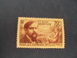 """1939-timbre N°437  -   Neuf  - Chômeurs Intel.""""  DEBUSSY   """"  Côte     12        Net      4 - France"""