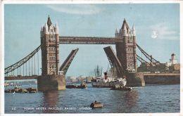 London - Tower Bridge - Bascules Raised - River Thames