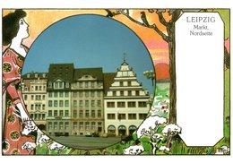 Leipzig - Markt Nordseite 1990 Künstlerkarte - Leipzig