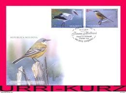 MOLDOVA 2014 Nature Fauna Birds Bird White Stork, Western Yellow Wagtail Mi884,888 Sc839,843 FDC - Storks & Long-legged Wading Birds