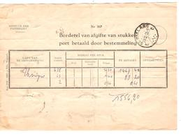 Posterijen Borderel...bestemmeling/Remise D'envoi St.29/12&30/12/55 TPA 10-11(15) DC 4 -696-851(2)-857 1556,20 Frs 2212 - Belgique