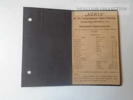 DC48.2  Timetable  ADRIA  Hungarian Royal Ship Company  1909  -FIUME Harbour Croatia - Europe