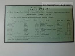 DC48.5  Timetable  ADRIA  Hungarian Royal Ship Company  1910  -FIUME Harbour Croatia - Europa