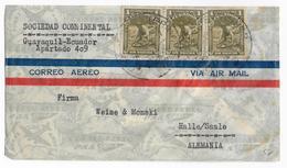 ECUADOR - 1937 - ENVELOPPE Par AVION De GUAYAQUIL => HALLE (ALLEMAGNE) - Equateur