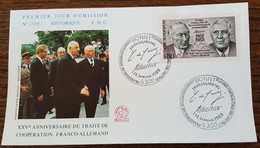 ALLEMAGNE - FDC 1988 - YT N°1183 - COOPERATION FRANCO ALLEMANDE - [7] République Fédérale