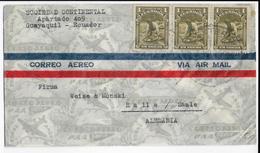 ECUADOR - 1938 - ENVELOPPE Par AVION De GUAYAQUIL => HALLE (ALLEMAGNE) - Equateur