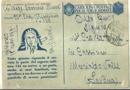 """863 """" FRANCHIGIA MILITARE-1942-PROPAGANDA-AZZURRO-LINEA ANZICHE' FASCIO """" CART POST. ORIG   SPED. - Cartoline"""