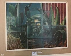 """OPERA DELL'ARTISTA NINO PARLAGRECO """"L'UOMO E LA NATURA"""" NEO FIGURATIVO IN ACRILICO 80X60 - Acrilici"""