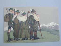 Ref 5714 Cpa Scéne Du Tyrol Avec Deux Femmes Et Deux Hommes En Costumes Tradtionnels. Signé CB - People