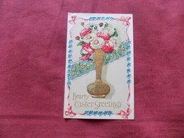 VINTAGE GREETINGS: EASTER Flowers In Vase Art Card 1908 - Souvenir De...