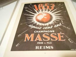 ANCIENNE PUBLICITE CHAMPAGNE MASSE 1952 - Alcoholes