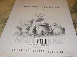 ANCIENNE AFFICHE PUBLICITE VIN BOUCHARD PERE  ET FILS BOURGOGNE 1952 - Alcoholes