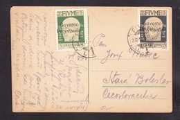 EXTRA-18-07-12 OPEN LETTER SEND FROM FIUME TO CZECHOSLOVAKIA. - Italien