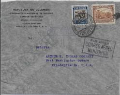 COLOMBIA - 1934 - ENVELOPPE Par AVION MANCOMUN De BOGOTA => PHILADELPHIA (USA) - Colombie