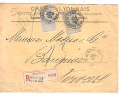 TP 60-63 FB Perforé CL S/L.recommandée Double Port C.BXL Législatif 28/9/1899 V.Verviers C.d'arrivée 2214 - 1893-1900 Barba Corta