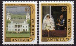 Antigua & Barbuda 1982 Princess Diana 21st Birthday Gold Surcharges Set Of 2, MNH - Antigua And Barbuda (1981-...)