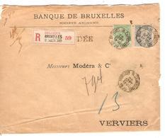TP 56-63 FB S/L.recommandée C.BXL (R.Chancellerie) 26/9/1899 V.Verviers C.d'arrivée 2215 - 1893-1900 Barba Corta