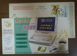 Computer,coffee,branch Of Spring Orchid,CN 02 Zhenjiang Telephone Card Amateurs Association Advert Pre-stamped Card - Orchids