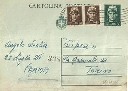"""864 """"LUOGOTENENZA- SIPRA-VIA ARSENALE 33 TORINO-1945-60C. VERDE CON FR.LLI AGGIUNTI """" CART POST. ORIG   SPED - Cartoline"""