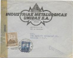 COLOMBIA - 1944 - ENVELOPPE PUB DECOREE Avec CENSURE De MEDELLIN => ROSELLE (USA) - Colombie