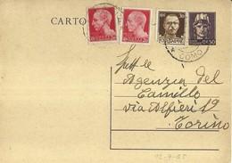 """865 """"LUOGOTENENZA- AGENZ. DEL CAMILLO(GIORNALE)-TORINO1945-50C. VIOLETTO CON FR.LLI AGGIUNTI """" CART POST. ORIG   SPED - Cartoline"""