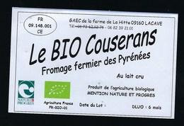 Etiquette Fromage   Le Bio Coulerais Fromage Fermier Des Pyrennées  Gaec De La Ferme De La Hitte  Lacave Ariege 09 - Formaggio
