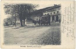 Cpa  Allemagne – Schwäb. Gmünd, Bahnhofplatz (taxi ?) - Allemagne