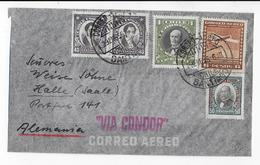 CHILE - 1956 - ENVELOPPE Par AVION CONDOR De SANTIAGO  => HALLE (ALLEMAGNE) - Chili