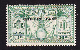 New Hebrides, Scott #J1, Mint Hinged, Native Idols Overprinted, Issued 1925 - French Legend