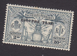 New Hebrides, Scott #J2, Mint Hinged, Native Idols Overprinted, Issued 1925 - French Legend
