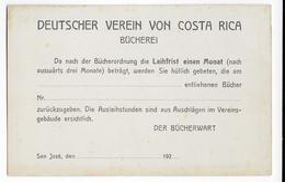 COSTA RICA - 1920 ENV. - CARTE ENTIER POSTAL Avec REPIQUAGE PRIVE De SAN JOSE - Costa Rica