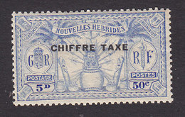 New Hebrides, Scott #J4, Mint Hinged, Native Idols Overprinted, Issued 1925 - French Legend