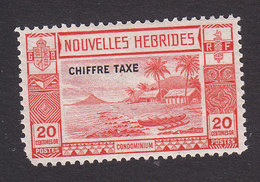 New Hebrides, Scott #J8, Mint Hinged, Beach Scene Overprinted, Issued 1938 - Unused Stamps