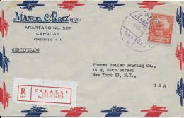 VENEZUELA - 1946 - ENVELOPPE RECOMMANDEE Par AVION De CARACAS => NEW YORK (USA) - Venezuela