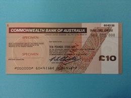 10 TRAVELLERS CHEQUE SPECIMEN TEN POUNDS STERLING COMMONWEALTH BANK OF AUSTRALIA - Specimen